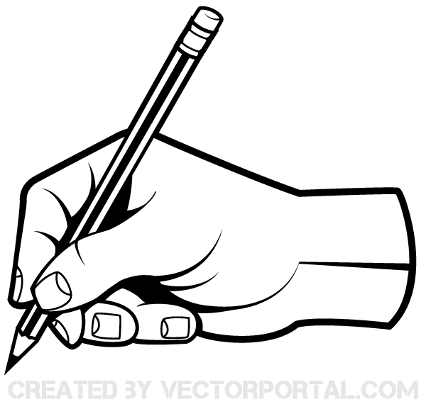 Drawn pen hand holding Holding Pencil Vector Hand Vector