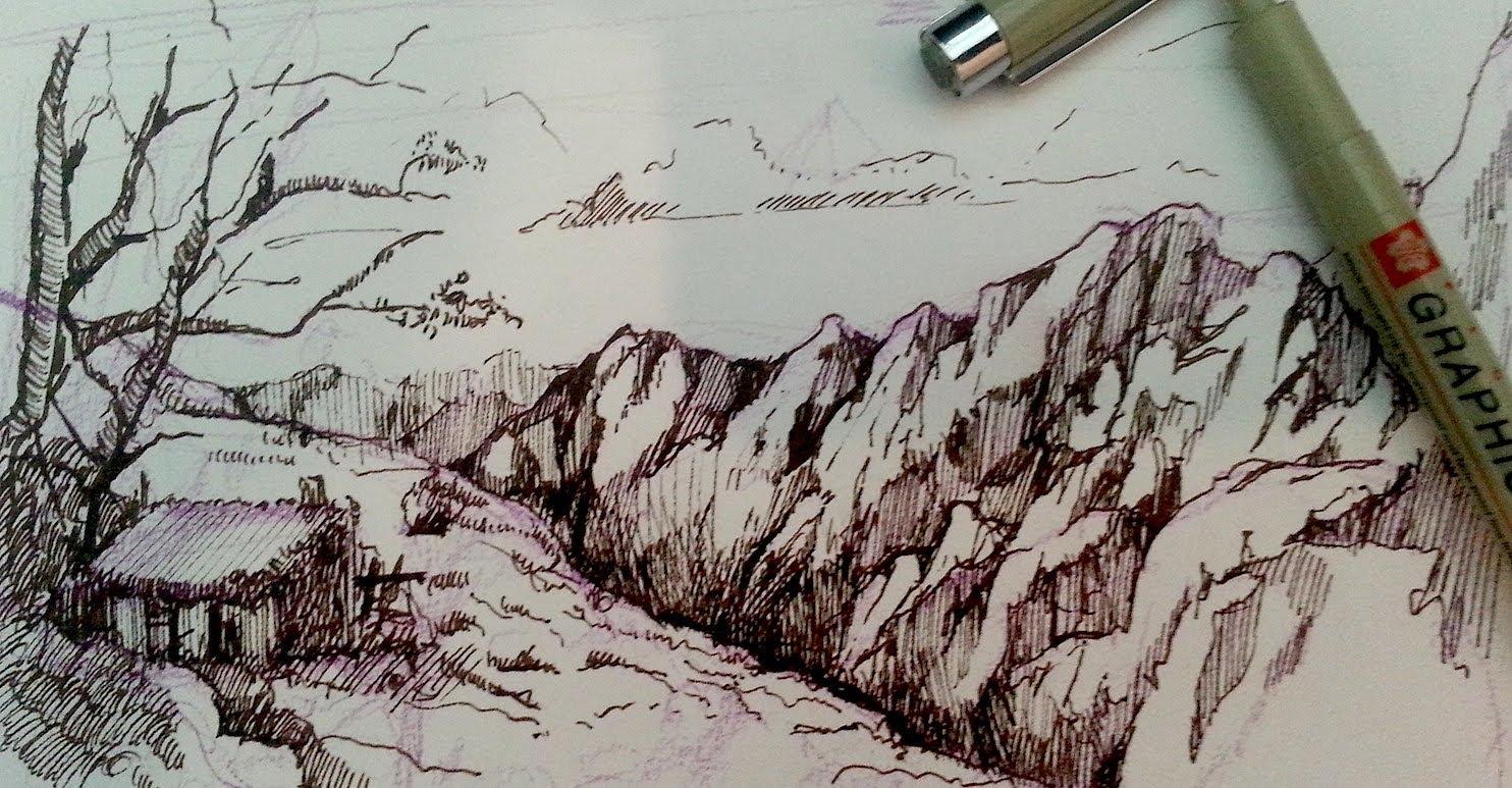 Drawn river pen  and landscape mountain landscape