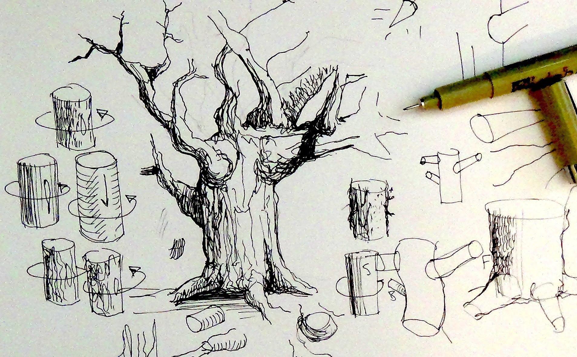 Drawn pen ink drawing Pen Tutorials tree How tree