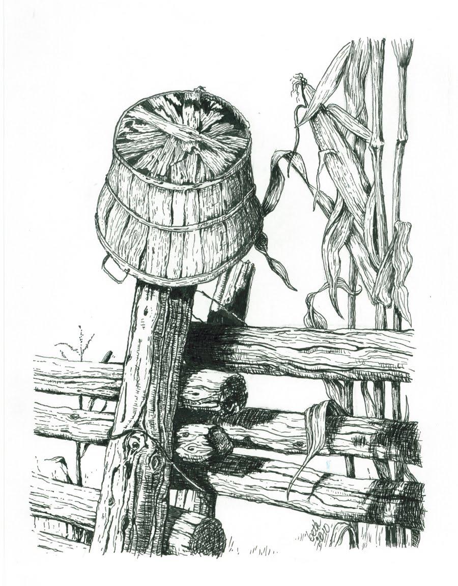 Drawn pen ink drawing Pen Trees Workshop Pen rocks