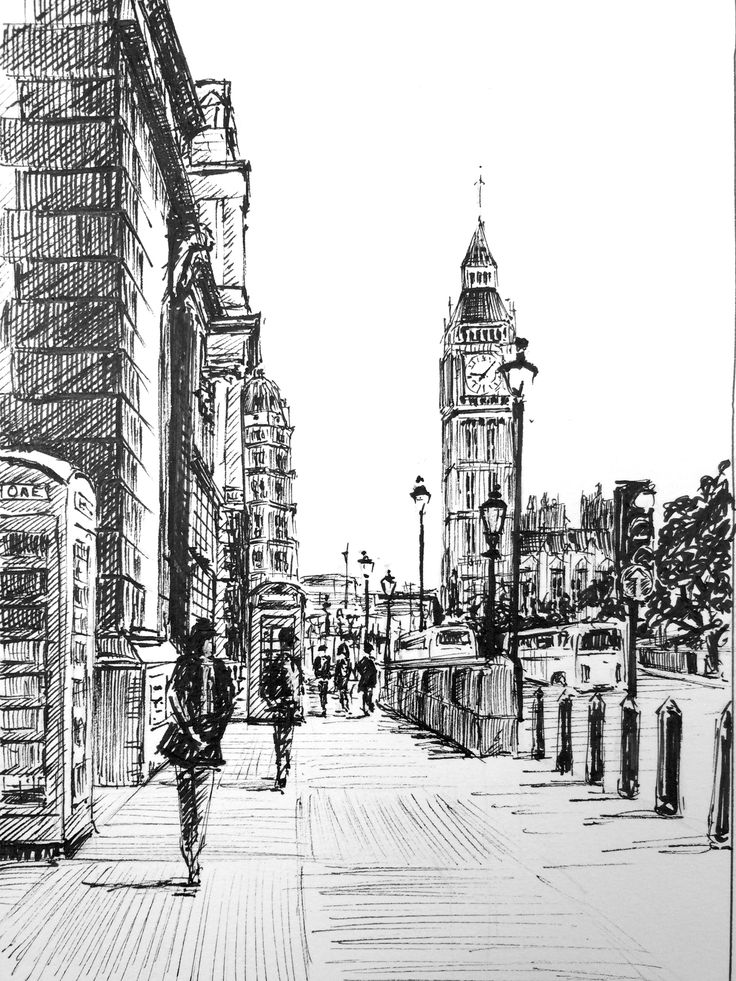 Drawn big ben rainy city Draw pen Best step Davies