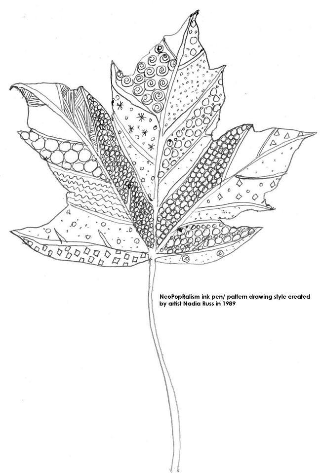 Drawn pen leaf  pen 5 Leaf A