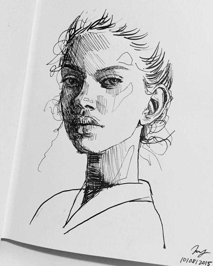 Drawn portrait black pen Draw art on / this