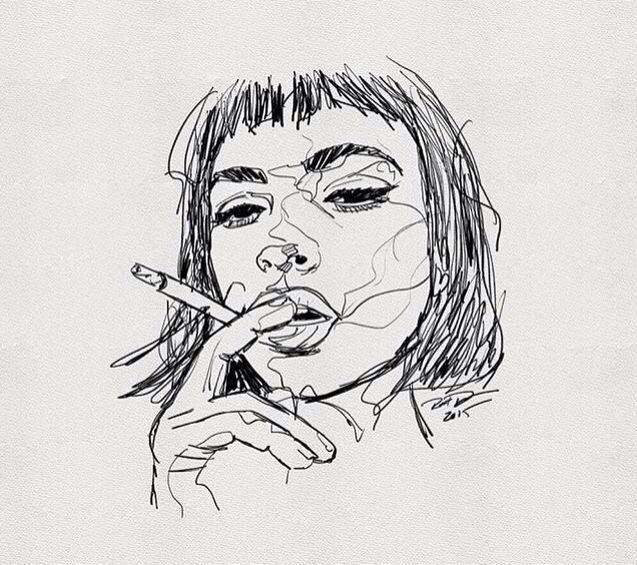 Drawn portrait black pen Art continuous on on Light