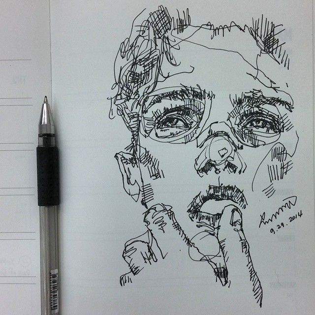 Drawn pen line drawing On Pin sketchbook 25+ on