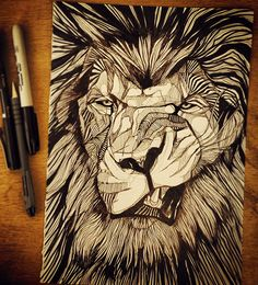 Drawn pen lion Art WWW Garden DRAWN //