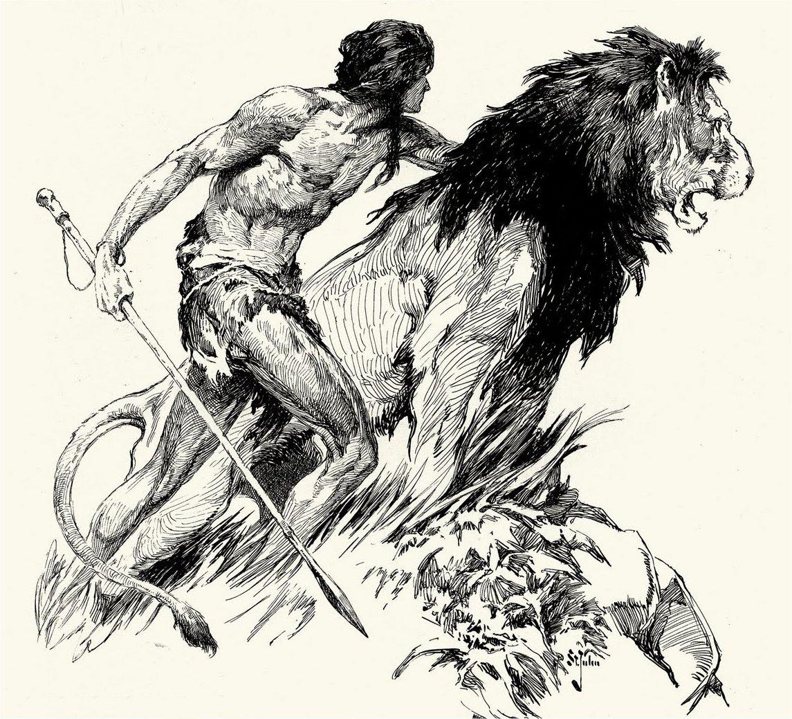 Drawn pen lion Robert Years 4191: Zeuschner