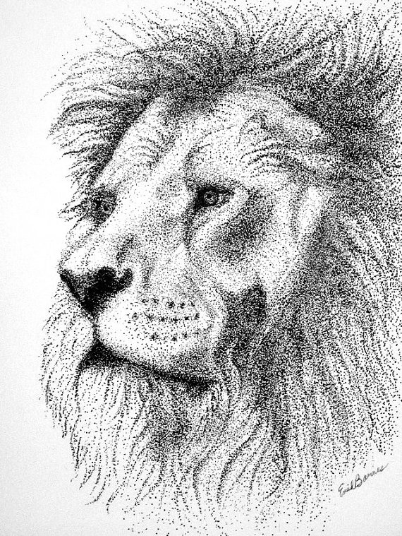 Drawn pen lion Pointillism and Pointillism Pen and