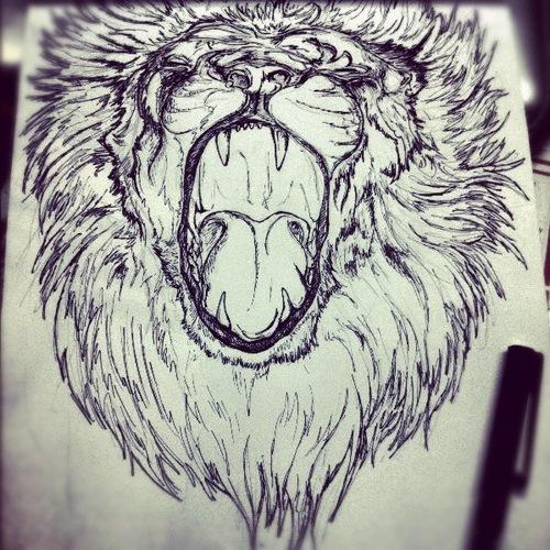 Drawn pen lion Artworks Waldesrauschen Original Artworks Original