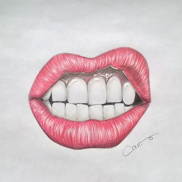 Drawn pen lip Art # #drawings teeth #draw