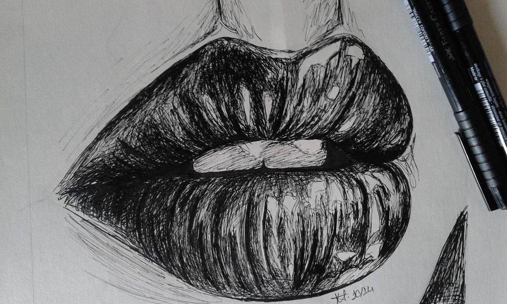 Drawn pen lip Drawn JoanaCMF drawn pen Lips