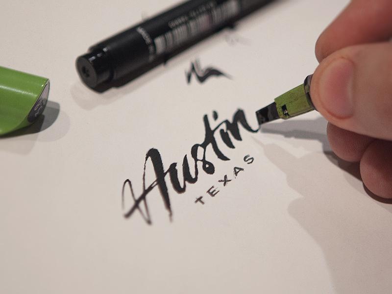 Drawn pen logo png Austin Typography Lettering design Pens