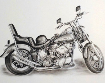 Drawn pen motorcycle Art charcoal of drawing Etsy