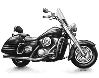Drawn pen motorcycle Drawings Motorcycle Gift Motorcycle Etsy