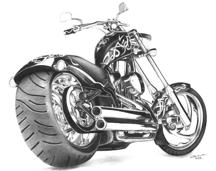 Drawn pen motorcycle Pencil Drawings: w0jtek1990 on Drawings