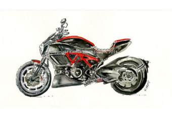 Drawn pen motorcycle Graduation Motorcycle Etsy drawings Gifts