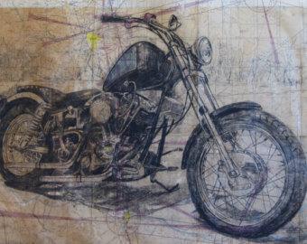 Drawn pen motorcycle Etsy Husband Davidson Motorcycle Dad