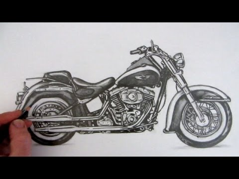 Drawn pen motorcycle Harley to Softail Softail YouTube