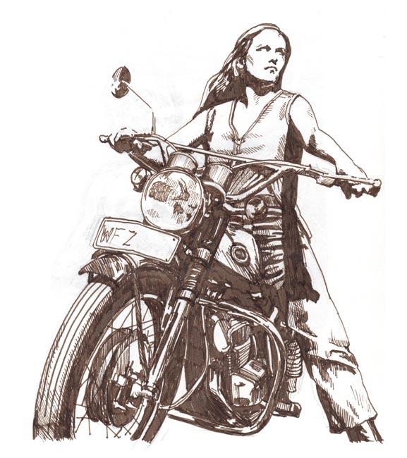 Drawn pen motorcycle White Illustration Design Drawing Pen