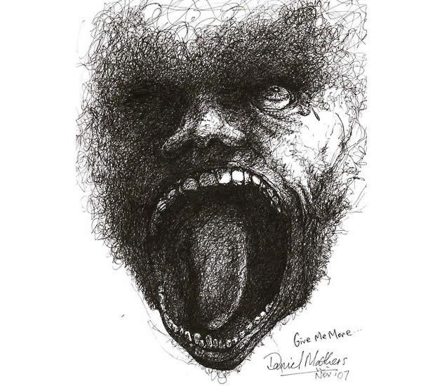 Drawn pen mouth Pen Scribble A Art Line
