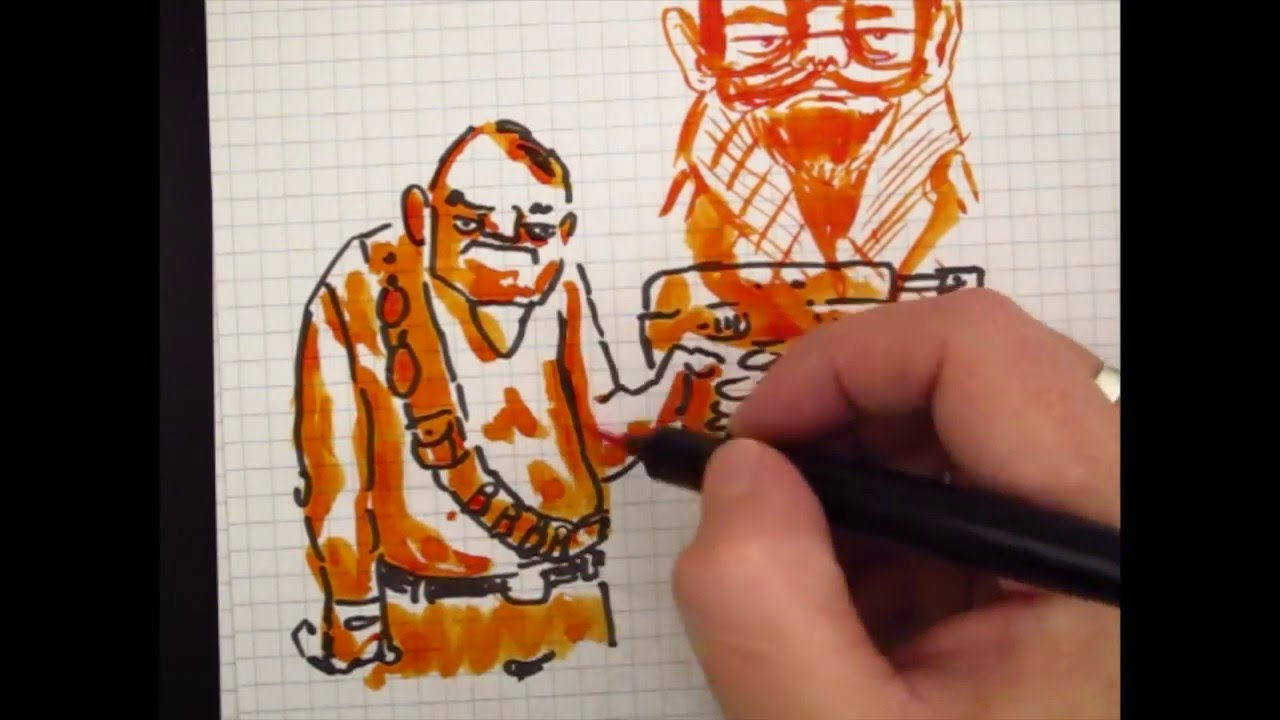 Drawn pen noodler Konrad With Noodler's Brush Konrad