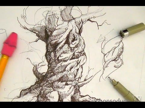 Drawn pen pen drawing Drawing  tree and Ink