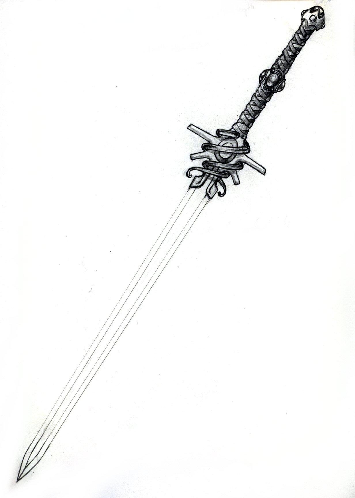 Drawn pen pencil Pencil and Gerak Sword Sword