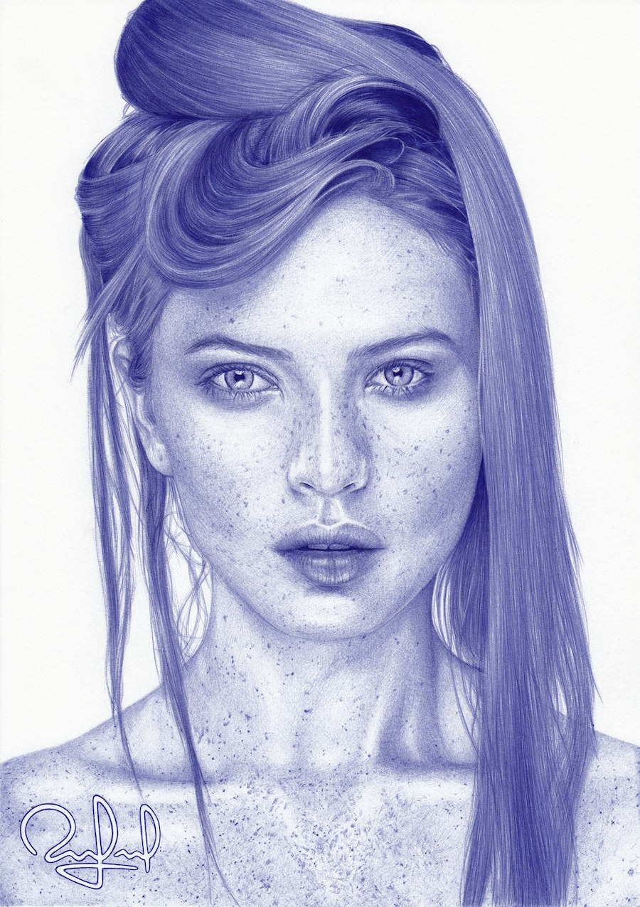 Drawn pen portrait drawing Pieces 20+ Bic and Augusto