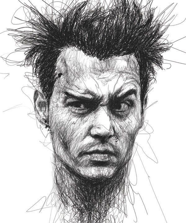 Drawn pen portrait drawing Sketch portrait I draw can