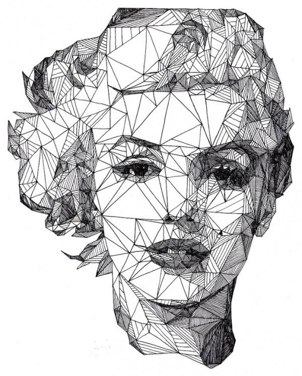 Drawn portrait black pen A with Pen Triangulation: Celebrities
