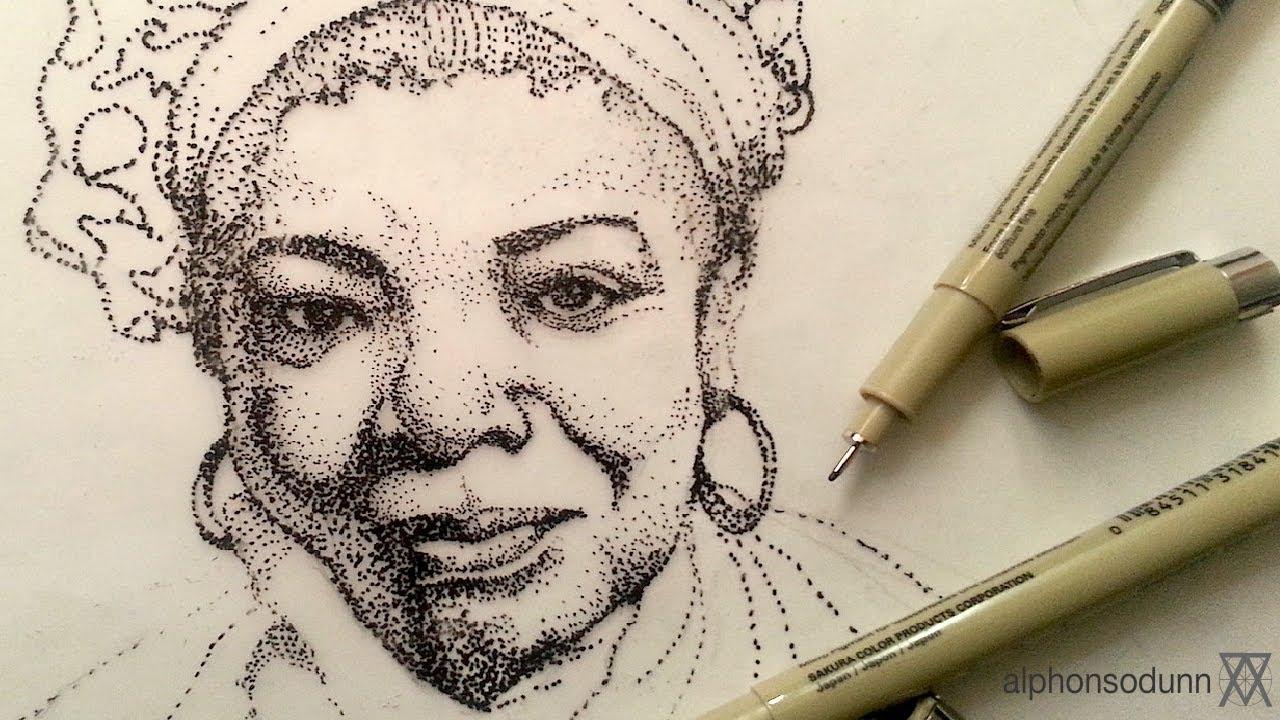 Drawn pen portrait drawing Portrait Stipple Maya Ink YouTube