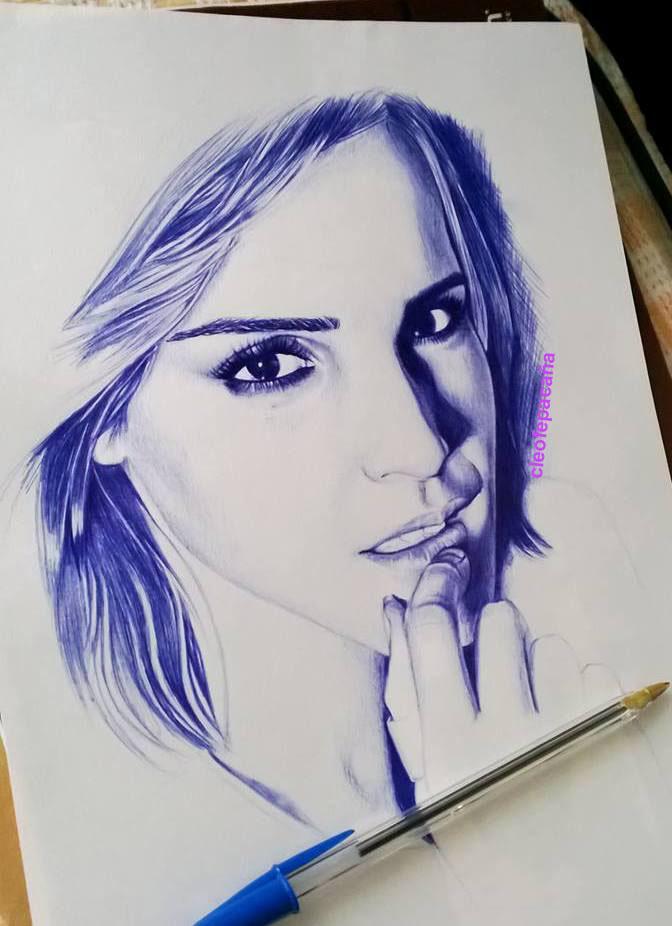 Drawn pen portrait drawing Pen ball drawing Pinterest pen
