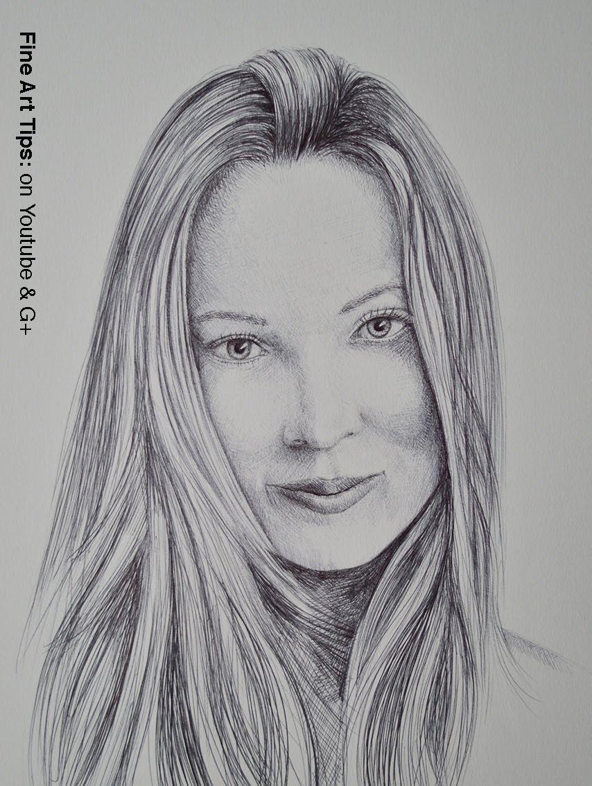 Drawn portrait black pen With Point Portrait Ball How