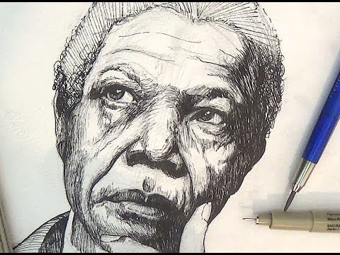 Drawn pen portrait drawing Mandela Nelson Ink and and