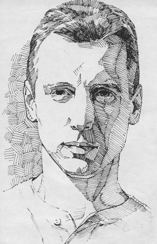 Drawn pen portrait drawing Strokes pen to experimenting technique