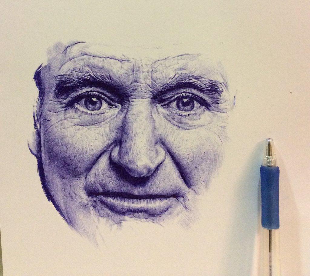 Drawn pen portrait drawing Williams Robin chaseroflight pen on