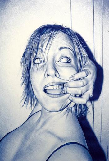 Drawn pen portrait drawing Ballpoint In Photorealistic Astounding