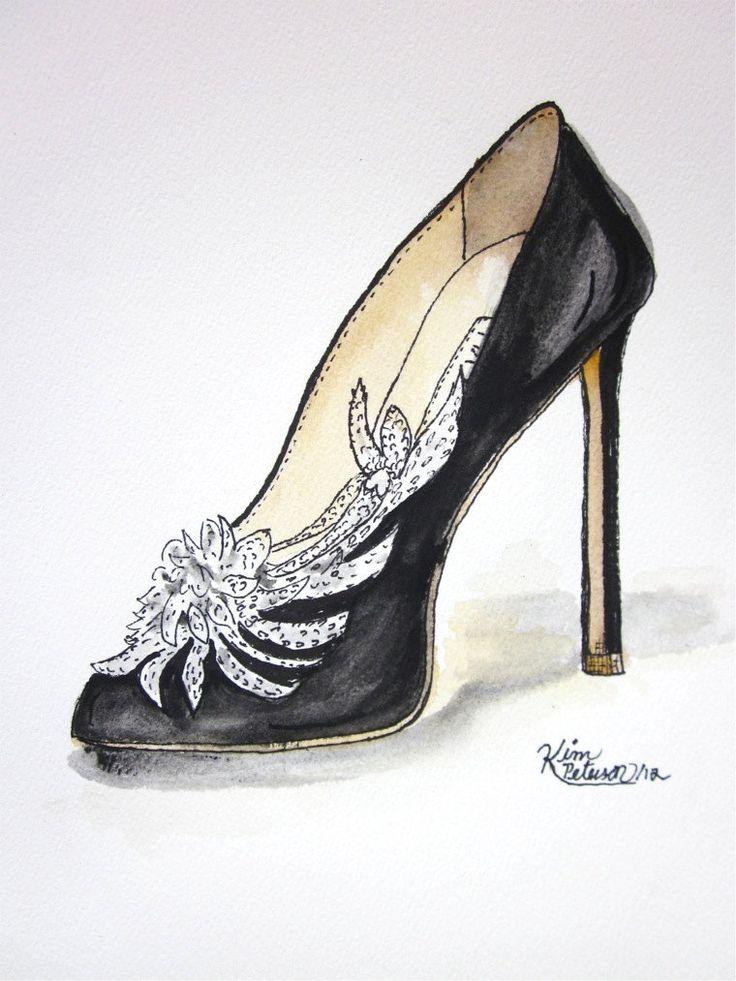 Drawn pen pump Original and about shoe sketch: