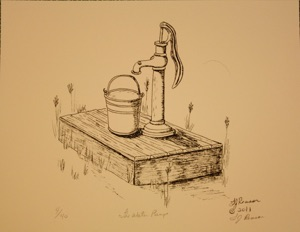 Drawn pen pump And drawings done are drawn