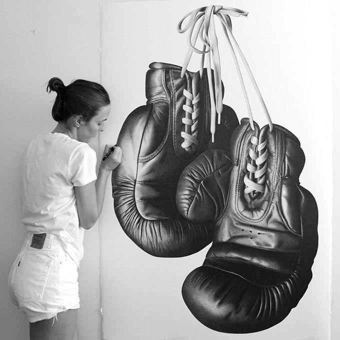 Drawn shoe realistic Hyper Realistic on DrawingsPen gloves