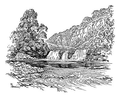 Drawn pen river River on a Yorkshire A