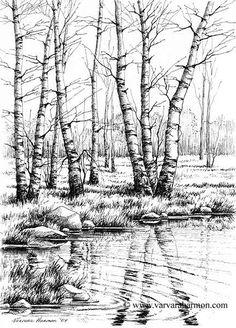 Drawn river pen Harmon Drawings Illustration Misc Artist