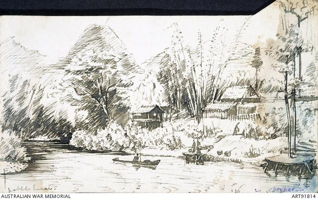 Drawn river pen War 1942 Stolen War Chalker