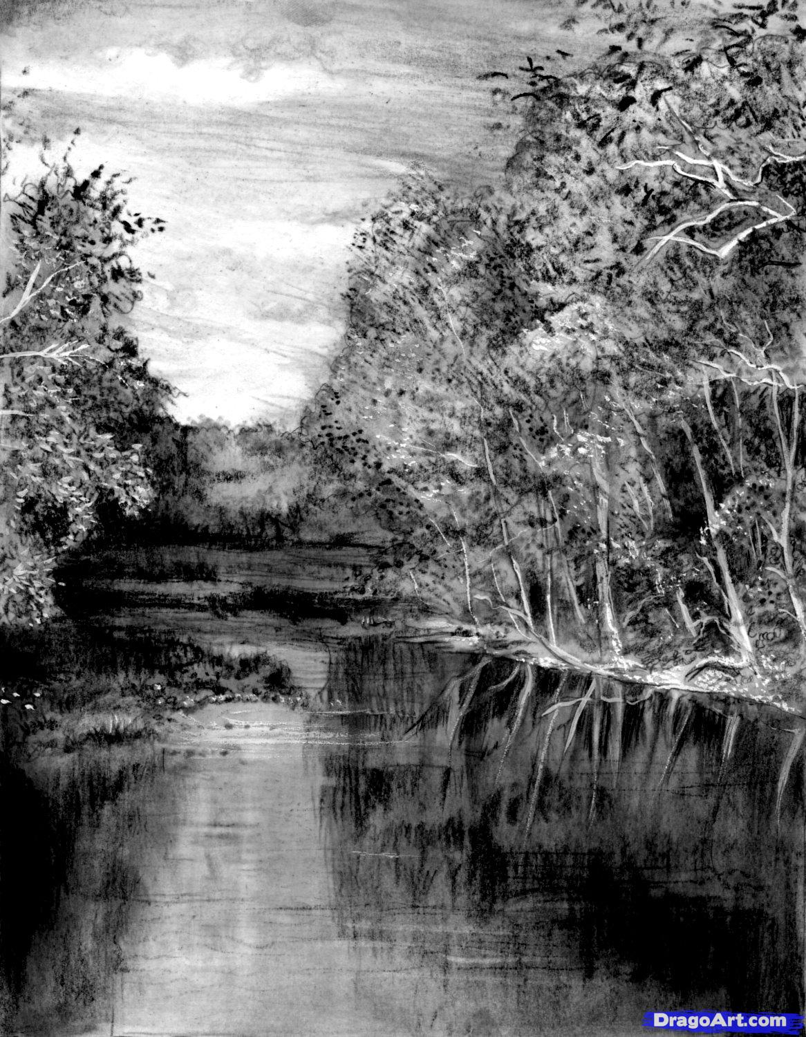 Drawn river pencil drawing How river realistic Realistic a
