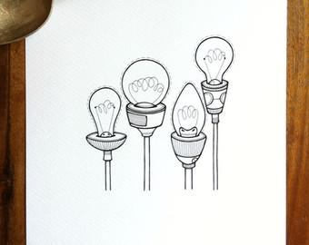 Drawn pen simple In lightbulbs light drawn Etsy