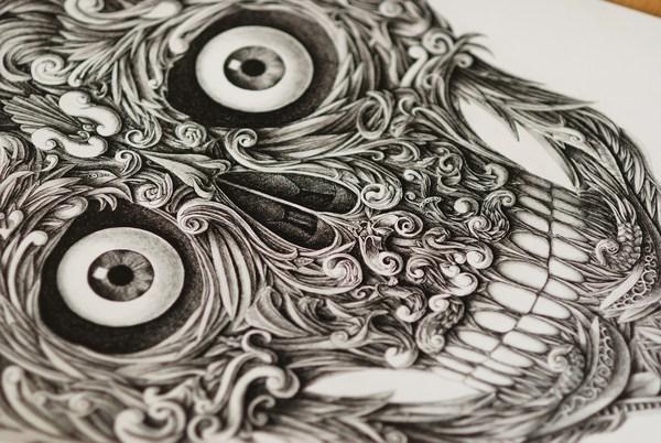Drawn pen skull Pen Colossal Skull Konahin Dip