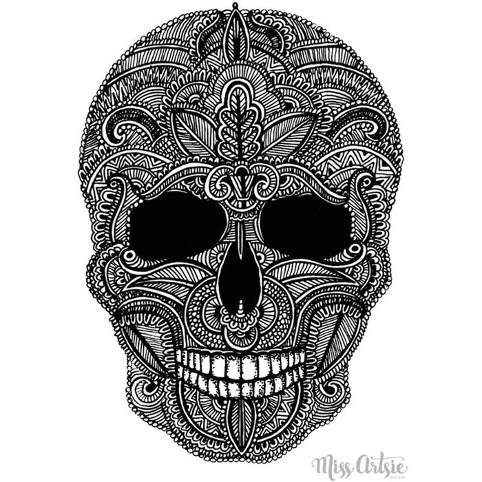 Drawn pen skull Print Miss pen drawn drawn