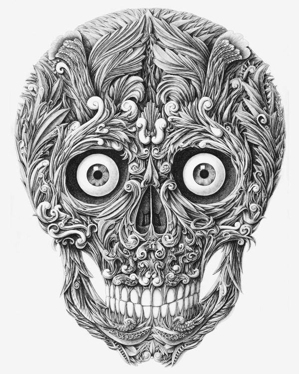 Drawn pen skull Dip Skull Pen 2012 by