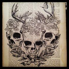 Drawn pen skull Wild ink Heart pen book