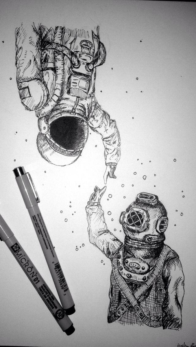 Drawn pen space Dois mundos 25+ Dois Astronaut